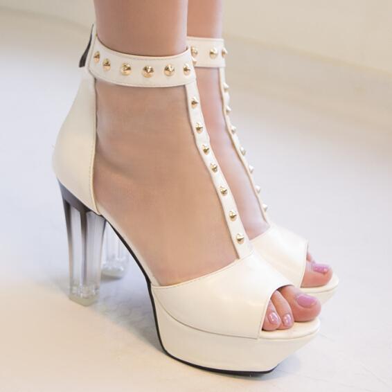 ENMAYERHot Vogue Open Toe Ankle Boots Fashion Pierced lace Cool summer Boots Sequins Cutout Sexy thick heel High Heels Women<br><br>Aliexpress