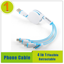 1M Flexible Retractable Mobile Phone Cable Micro USB Sync Charge Cable,4 in 1 Noodles ios 8 Pin For Iphone 4s 5s 6s Charger