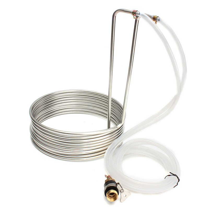 Super Efficient Stainless Steel Immersion Wort Chiller elevated Coils Home Brew Beer With Silicone Tubing - Home Brew(China (Mainland))