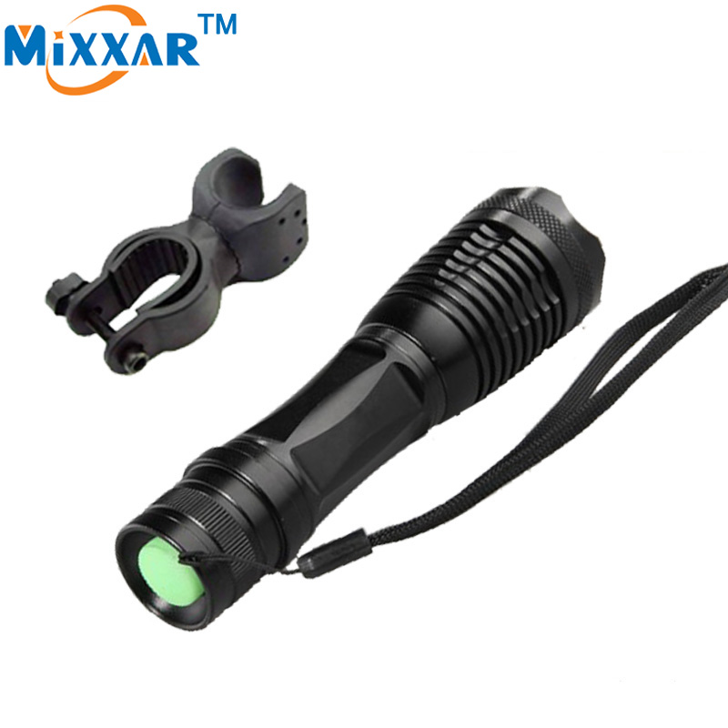 zk90 4000Lumens CREE XML-T6 LED Flashlight LED Bicycle Torch Focus Lamp Zoomable Lights + Holder For Hunting Biking(China (Mainland))