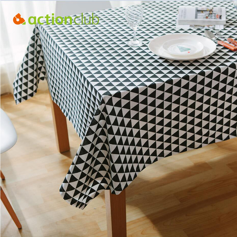 New Arrival Black White Table Cloth Cotton Linen Table Covers Elegant Nordic Style Toalha De Mesa Decorative Furniture Covers(China (Mainland))