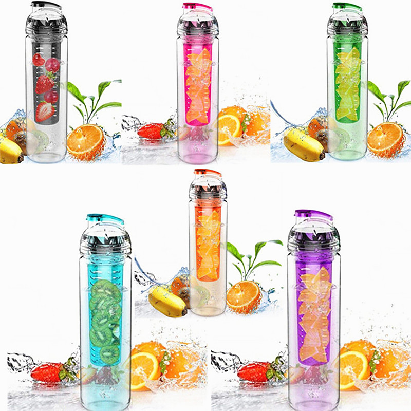 Fresh 700ml Fruit Flesh Infuser Filter Juice Water Bottle with Lid Lemon Strawberry Tritan BPA Free Water Cup for Home Sports(China (Mainland))