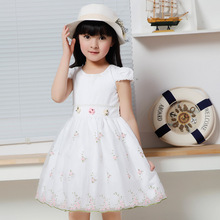 Korean Kids Clothes Teenage Girls Clothing Brands White Wedding Dresses Lace Floral Girls Summer Dresses For Party And Wedding