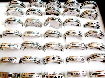 Express way ship wholesale job lots 100pcs  Classic  Men's Stainless steel rings jewelry JJR-00322
