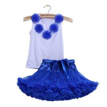 Fashion girl kids  Clothing Pettiskirt Set Birthday Party  2PC/Set Cotton Tops+Chiffon Fluffy Tutu Skirt For 2T,3T,4T 5Years(China (Mainland))