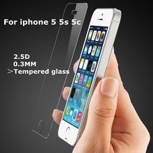 0.26mm 2.5D For iphone 5 Tempered Glass For iPhone 5s Screen Protector Toughened Protective Glass For iphone 5   free shipping