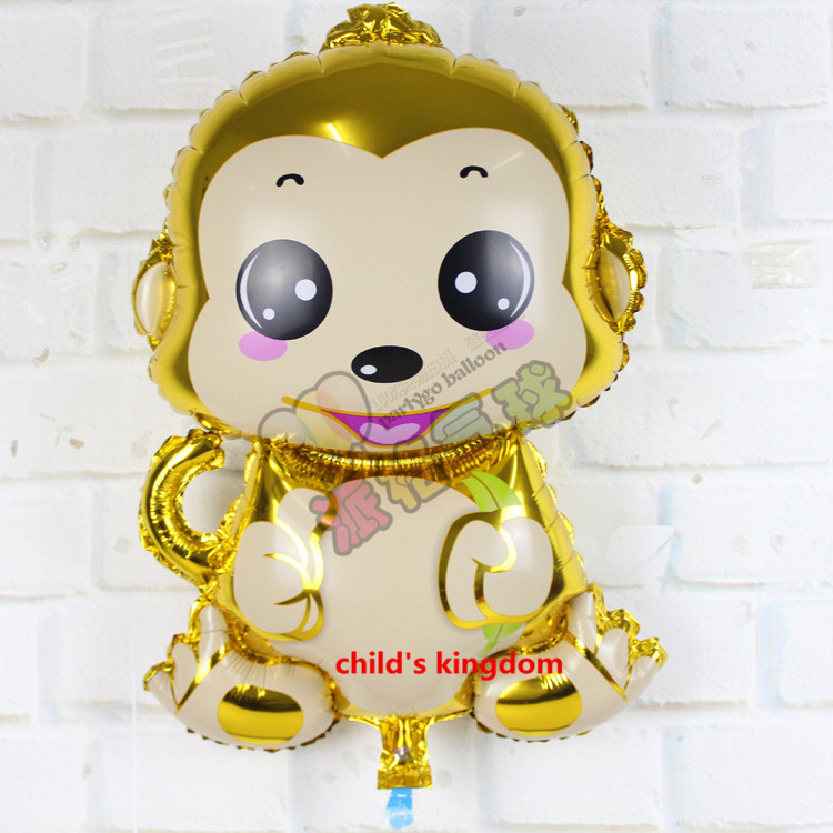 1pcs Cute gold monkey foil globos happy new year Rose Red monkey ballons baby gifts birthday party decoration supplier 75x55cm(China (Mainland))