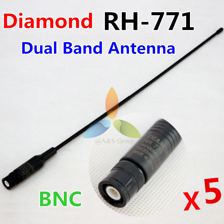 5Pcs RH-771 BNC connector dual band Diamond antenna for ICOM IC-V85 IC-V80 Kenwood TK100 Motorola CP500 Vertex HX320 etc(China (Mainland))