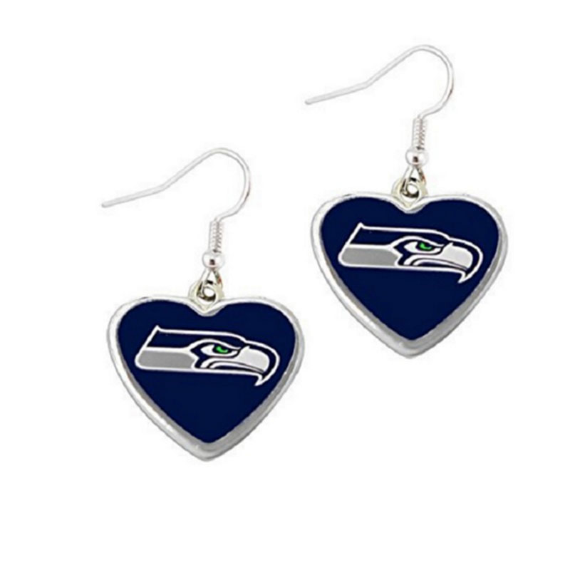 Fashion 5 Pairs NFL Fans Earrings Heart Enamel American Football Seattle Seahawks Charm Drop Earrings(China (Mainland))