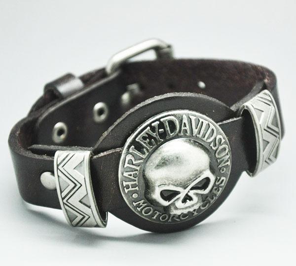 men jewelry bracelets bangles Genuine Leather SKull Studs Genunine Leather bracelets for women(China (Mainland))