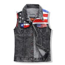 Flag Patch Grey Denim Vest Coat Men Vests 2015 Brand Coats Mens Patchwork Men's Cowboy Waistcoat Sleeveless Jacket Clothing M-L (China (Mainland))