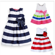 Baby Kid Girls One Piece Dress Blue White Striped Bow Summer Tutu Dress 1-5Y Freeshiping(China (Mainland))