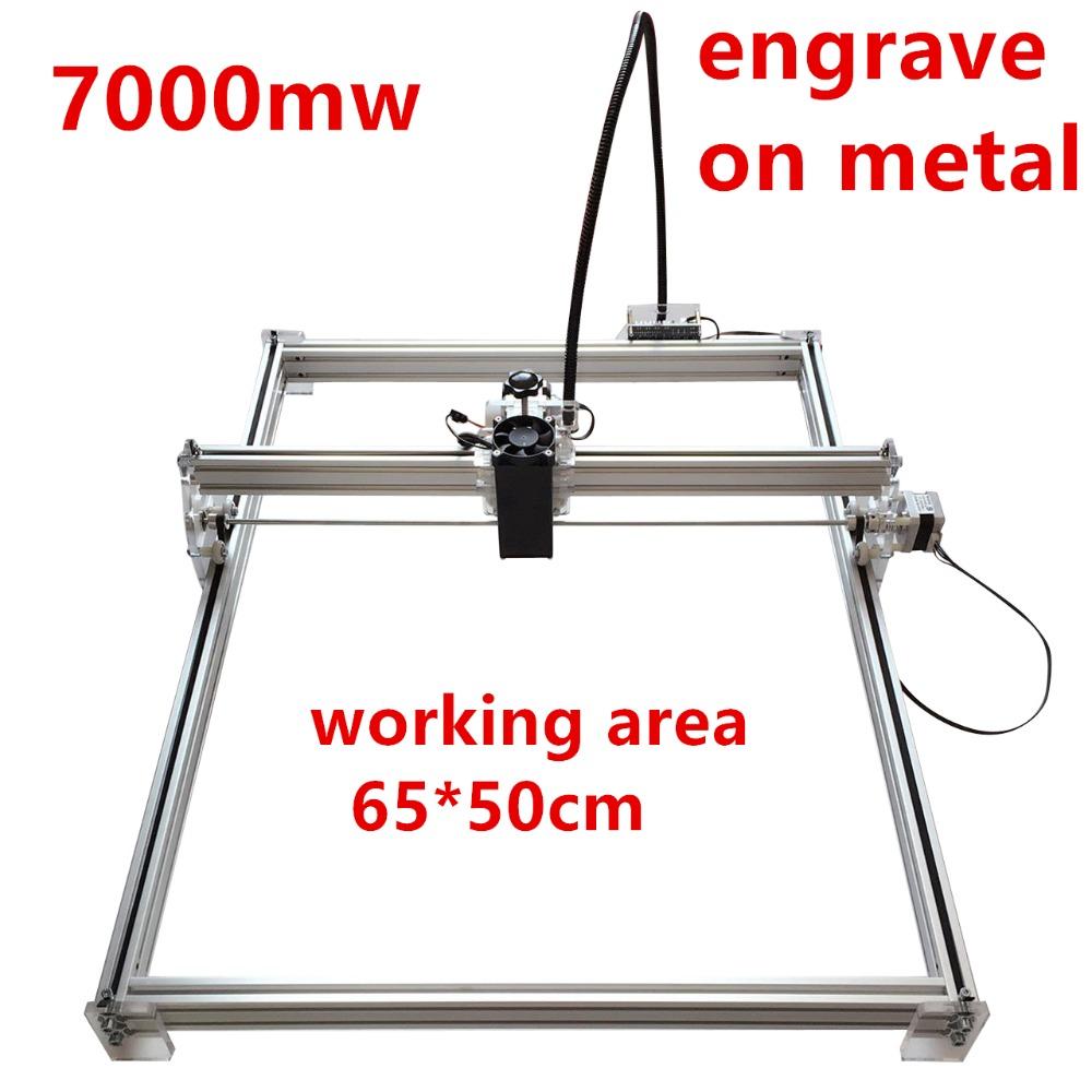7000mw Mini desktop DIY Laser engraving engraver cutting machine Laser Etcher CNC print image of 50 X 65 cm mark logo on dog tag(China (Mainland))