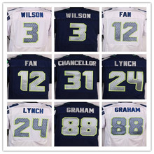 Best quality jersey,Men's 12 12th Fan 24 Marshawn Lynch 25 Richard Sherman 31 Kam Chancellor elite jerseys,White and Blue(China (Mainland))