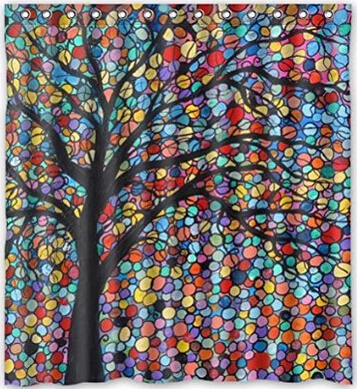 "Fashionable Design amazing colorful tree mosaic art Waterproof Polyester Fabric Shower Curtain 60"" x 72""(China (Mainland))"