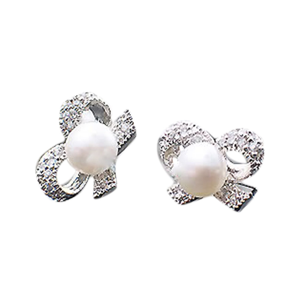 Fashion Color Silver Plated 1 Pair Bow Shaped Simulated Pearl Woman Earrings Jewelry Accessories EAR-0700<br><br>Aliexpress