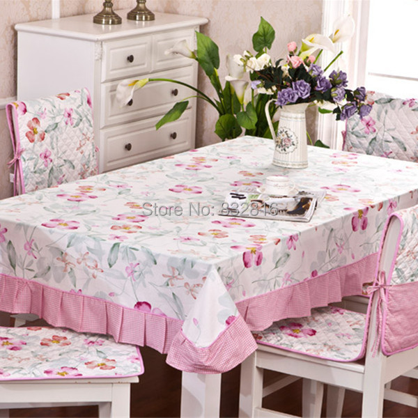 Home Textile Cotton Pink Floral Printed Dining Table Cover Outdoor Tablecloth Rectangle Table Linen 130x180cm(China (Mainland))