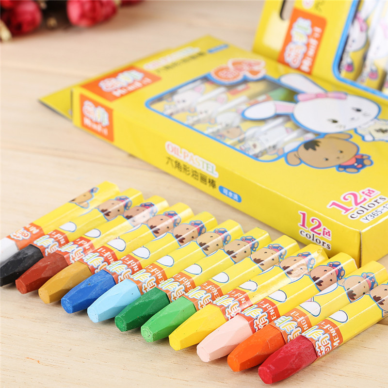 12 Colors Safe Oil Pastel Non-Toxic Water-soluble Drawing Crayon Children Painting Wax Crayon Student Washable Coloring Stick