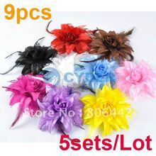Holiday Sale Free Shipping 5sets/Lot Fashion Beautiful Girls Women's Hot Sale 9pcs /Colors Lily Head Flower Hair Clip Brooch(China (Mainland))