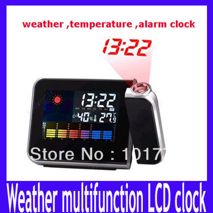 Free shipping Mini Desktop Wireless Multi-function Digital LCD Weather Station Temperature Projection Alarm Clock,MOQ=1