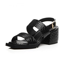 Fashion Large size peep toe buckle snake skin genuine leather women sandals high quality platform high heels summer shoes woman(China (Mainland))