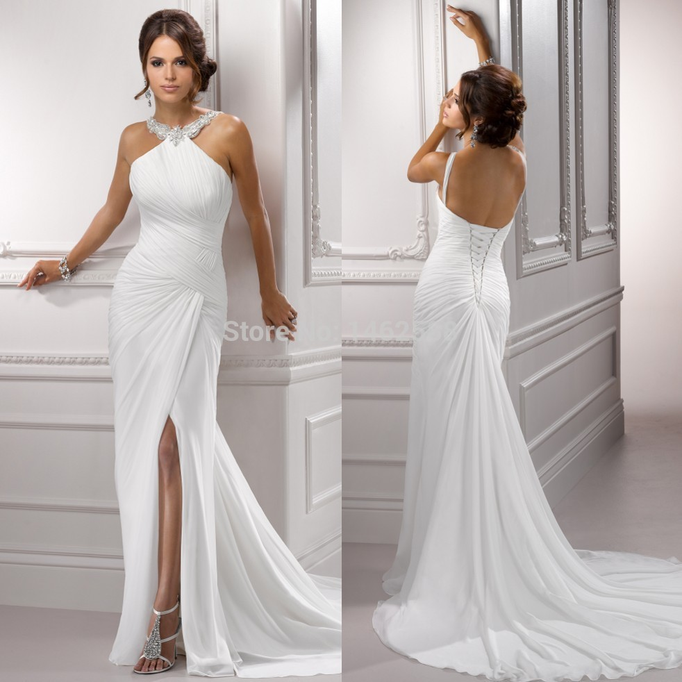 Sparkle beading halter white chiffon backless beach for White sparkly wedding dress