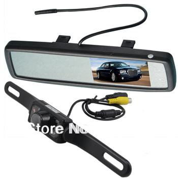 "Rear View Mirror Vehicle Waterproof 4.3""LCD Car Reversing Parking Backup Camera Kit Wholesale,Free Shipping #180101"
