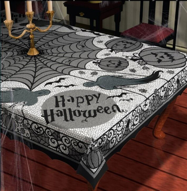 Halloween Party Black Lace Spider Web Tablecloth Tablecover Decoration Rectangle 60*80inch(China (Mainland))