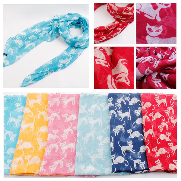 2015 New Summer Lovely Cat Animal Printed Scarves for Women Free Shipping 2015 New Brand Hot Sale Cat Shawls(China (Mainland))