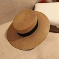 Dexing 2017 Fashion Design Boater Hat Glod Brimmed Sun Hat Flat Summer Hats for Women
