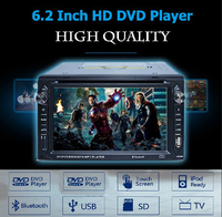 "Autos 6.2"" HD LCD Double 2 Din In Dash No GPS Car DVD Player Stereo Bluetooth FM RDS USB car tv radio touch screen backup camera"