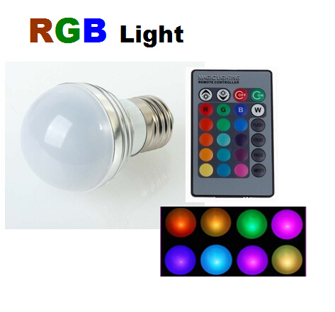 5pcs 3W RGB E27 spotlight 16 Colors LED Lamp Light Bulb Lamp AC85-265V + IR Remote Control Free Shipping(China (Mainland))