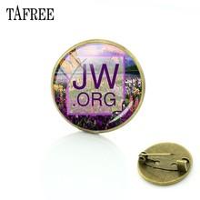 """Tafree JW ORG Bros """"Kehidupan Yang Terbaik"""" Saksi-saksi Yehuwa Glass Photo Cabochon Pin Bros Perhiasan Brocade QF79(China)"""