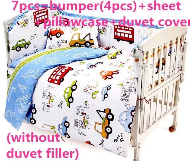 Promotion! 6PCS Baby Nursery Crib Bedding set newborn Baby boy cot bedding set (bumper+sheet+pillow cover)(China (Mainland))