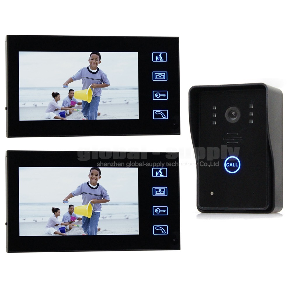 Video Door Phone Door Bell Touch Key 7inch Lcd Monitor With IR Camera Of Home Entry Intercom System Kit SY806MJ12(China (Mainland))