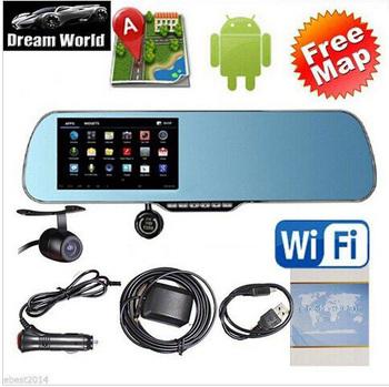 """Новый 5.0 """" сенсорный андроид GPS WiFi FM FHD 1080 P даш камеры парковка автомобилей видеорегистраторы зеркало заднего вида видеорегистратор автомобильный видеорегистратор с двойной камерой GPS"""