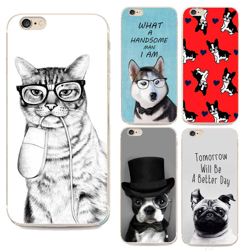 Cute Programmer Cat Case For Iphone 6 Cover Animal Dog Pattern Rubber Coque For Apple Iphone 6s 6plus Silicone Phone Case(China (Mainland))