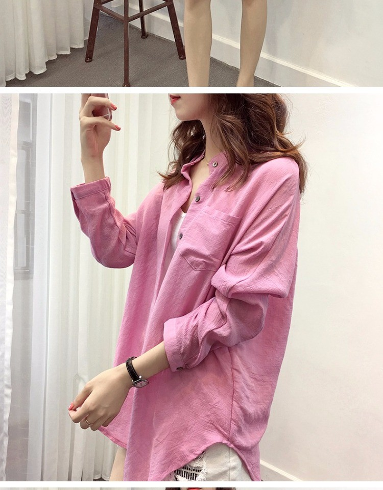 2016 Women Cotton Solid Loose Shirt Blouse Top Tunic Femme Blusa Feminina Autumn Long Sleeve Body Kimono Cardigan Linen Female
