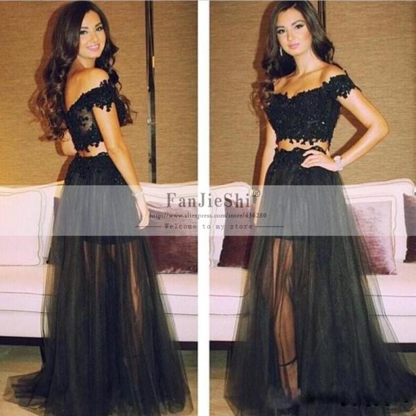 2016 Vestido De Festa Sexy V-Neck Appliques Cap Sleeve Backless New Arrive Black Long A-Line Two Piece Prom Dresses - Suzhou FanJieShi Wedding Dress Co., Ltd. store