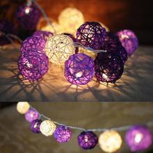Purple Rattan Ball LED String  Warm White LED Fairy Lights Lanterns Wedding Decor Party 10 / 20 / 35PCS LED Lights Options(China (Mainland))