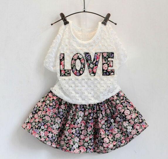 2015 Summer Fashion Floral Print Girls Set Love White T Shirt + Print Straps Dress For Girls Kids Outfits Dress Set(China (Mainland))