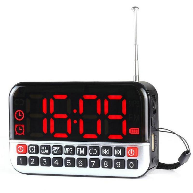Hot sale New Fashion mobile radio recorder FM Tuning alarm clock radio large Digital LCD fm portable mini radio USB L80(China (Mainland))