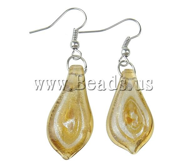 Free shipping!!!Lampwork Drop Earring,Bling, Leaf, handmade, gold sand and silver foil, deep yellow, 14x45x4mm, 10Pairs/Bag(China (Mainland))