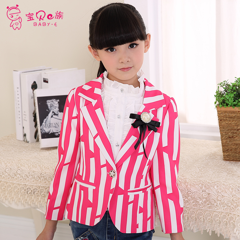 Baby childrens clothing female child autumn child suit child outerwear blazers girls casual blazers Striped jackets<br><br>Aliexpress