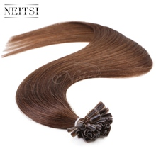 "Neitsi 20"" 1g/s 100% Indian Remy Human Hair Silky Straight Pre Bonded U Nail Tip Hair Extensions 4# D.Brown 50g 100g Fusion Hair(China (Mainland))"