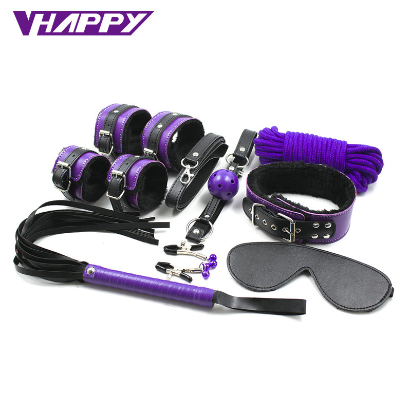 Fetish Nipple Clamps Sexy Toys Adult purple Suit Gag Handcuffs And Blindfold Beat Cervical Collar Sex Toys VP-BS006036A<br><br>Aliexpress