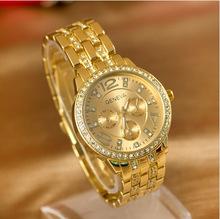 New Arrival Luxury Geneva Brand Crystal Ladies Rose Gold Rhinestone Quartz Watch Women Crystals Montres Femme Relogio watches