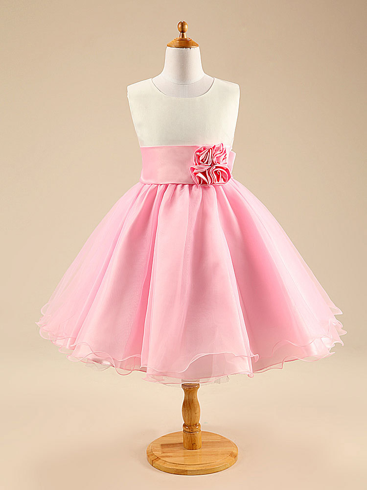 2015 Party Girls Dress Children Sleeveless With Butterfly pink and blue Ready In Stock Free Shipping
