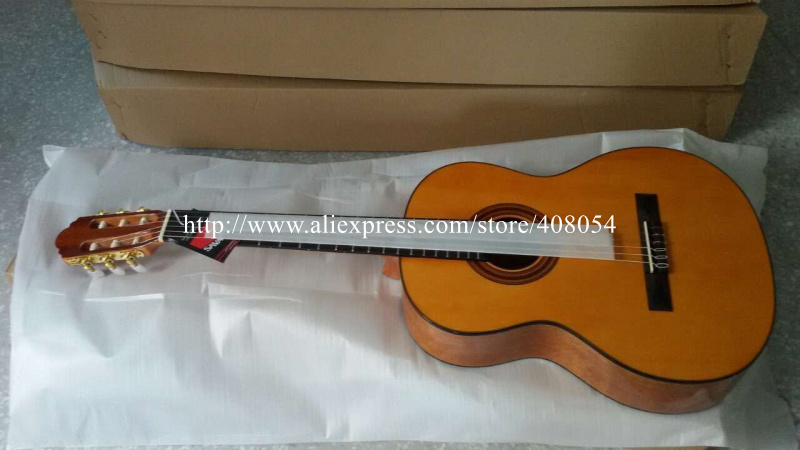 Free shipping Spanish guitar, SOLID spruce /mahogany Acoustic classical guitar +ELECTRIC 5band LCD PICKUP TUNER,MC20 C(China (Mainland))