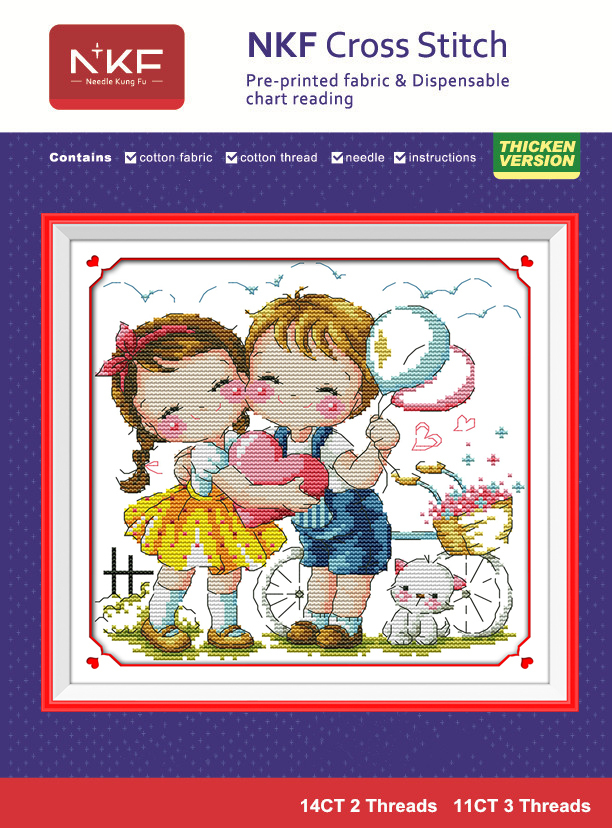 DIY crafts embroidery Kit 11CT&14CT cross-stitching set innovation items needlework kit unique gift for kids - Our love(China (Mainland))